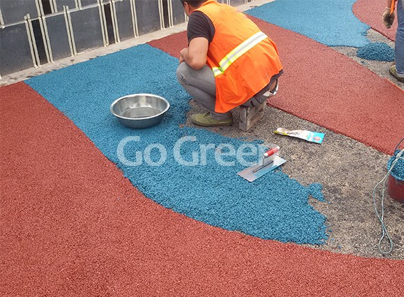 Red and blue combined color asphalt project