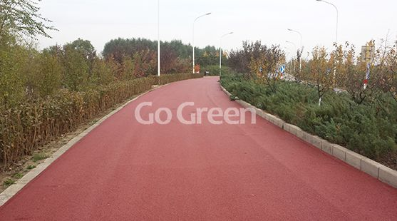 Red Color Warm Mix Colored Asphalt Project